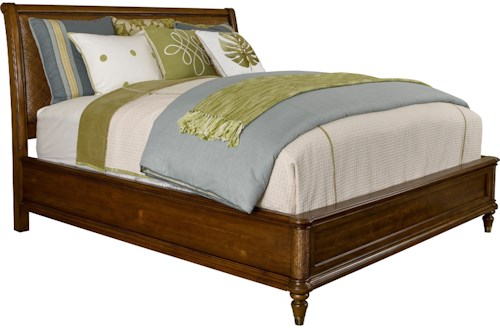 Broyhill Furniture Amalie Bay Queen Sleigh Bed with Padded Raffia Accents