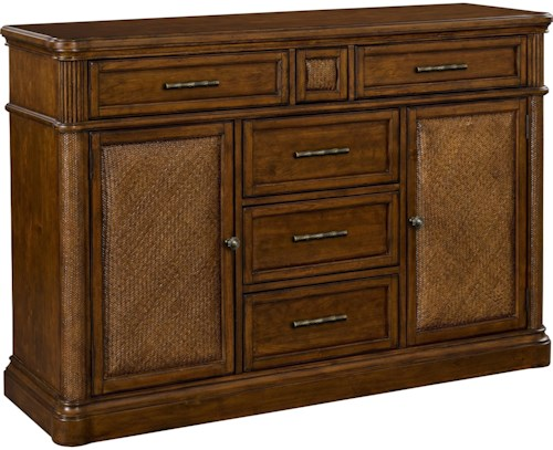 Broyhill Furniture Amalie Bay 5 Drawer Sideboard with Padded Raffia Door Fronts