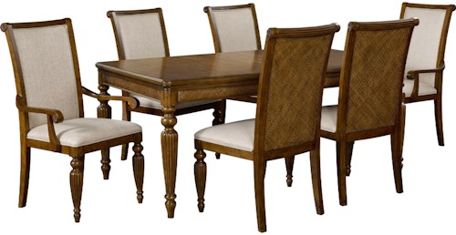 Broyhill Furniture Amalie Bay Tropical 7 Piece Table and Chair Set with Padded Raffia Accents