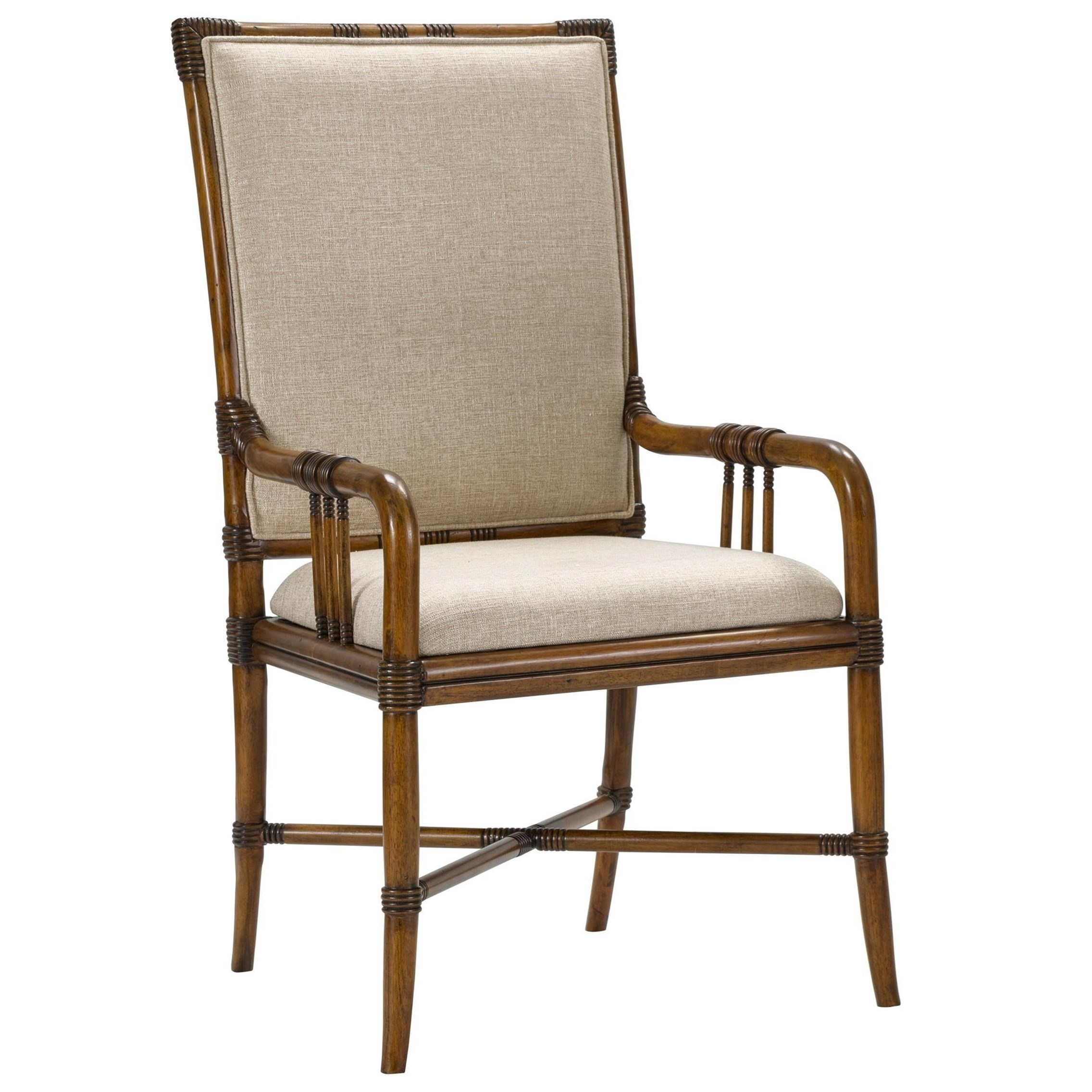Broyhill Furniture Amalie Bay Bamboo Arm Chair With Upholstered Seat And  Back