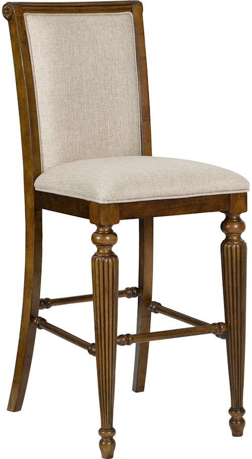 Broyhill Furniture Amalie Bay Upholstered Pub Stool with Front Turned Legs