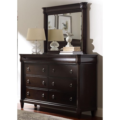 Broyhill Furniture Aryell Eight Drawer Dresser and Landscape Mirror
