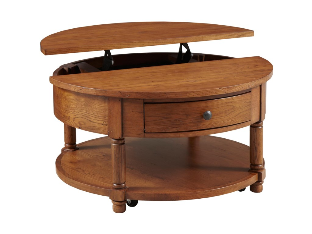 Broyhill Furniture Attic HeirloomsRound Lift Top Cocktail Table
