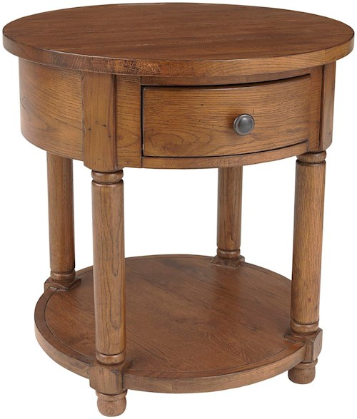 Broyhill Furniture Attic Heirlooms Round End Table with Shelf