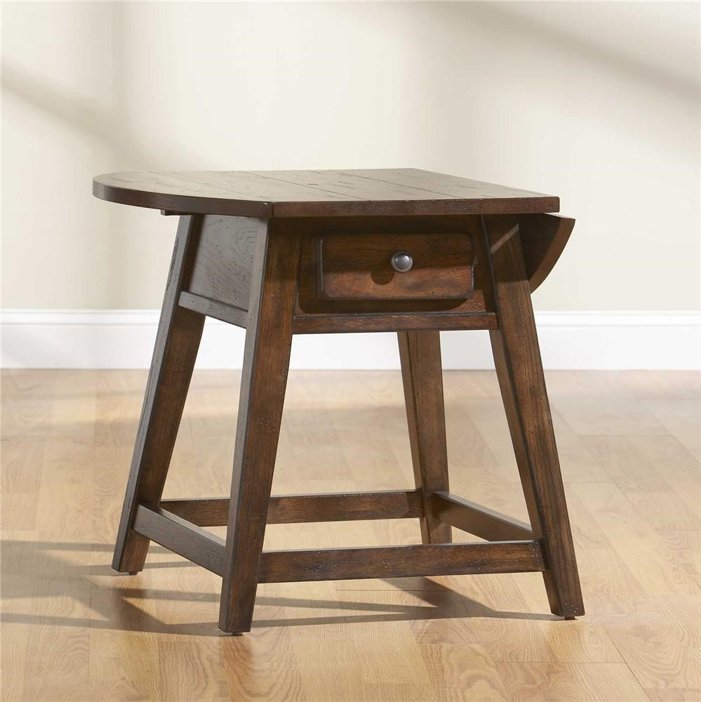 Broyhill Furniture Attic Rustic Splay Leg End Table With 1 Drawer And Drop  Leaf Top