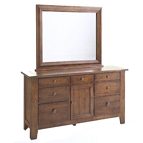 Broyhill Furniture Attic Rustic Door Dresser and Landscape Mirror Combo
