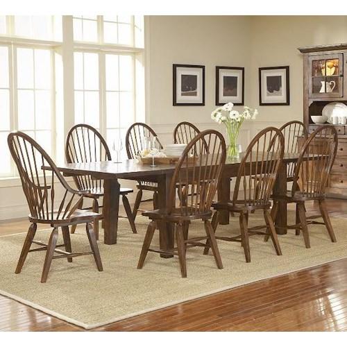 Broyhill Furniture Attic Rustic 9 Piece Dining Set