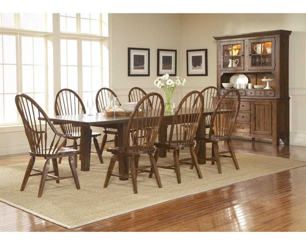 Broyhill Furniture Attic Rustic 5399 42V Leg Dining Table With