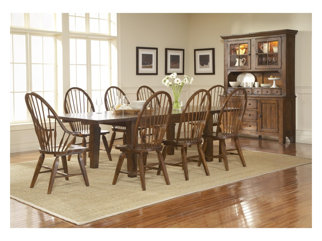 Broyhill Furniture Attic Rustic Leg Dining Table With Leaves ...