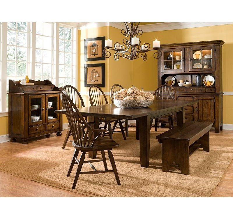 Shown with Rectangular leg Table, Windsor Arm Chairs and Bench
