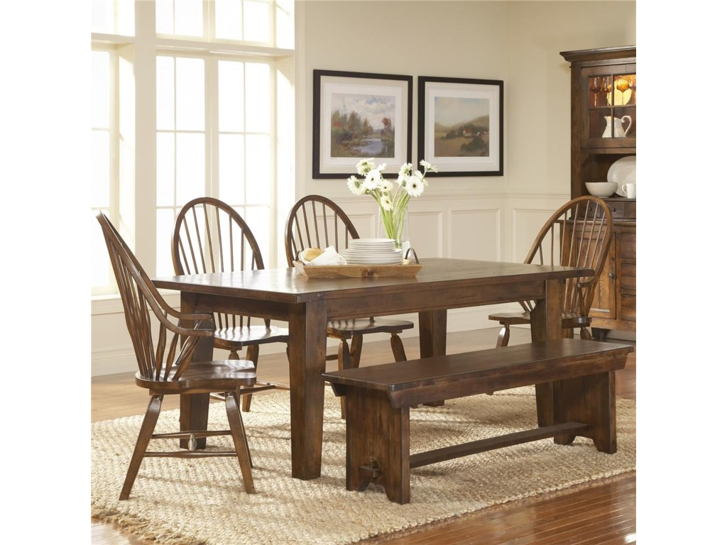 Shown With Windsor Chairs, Bench, and Leg Dining Table