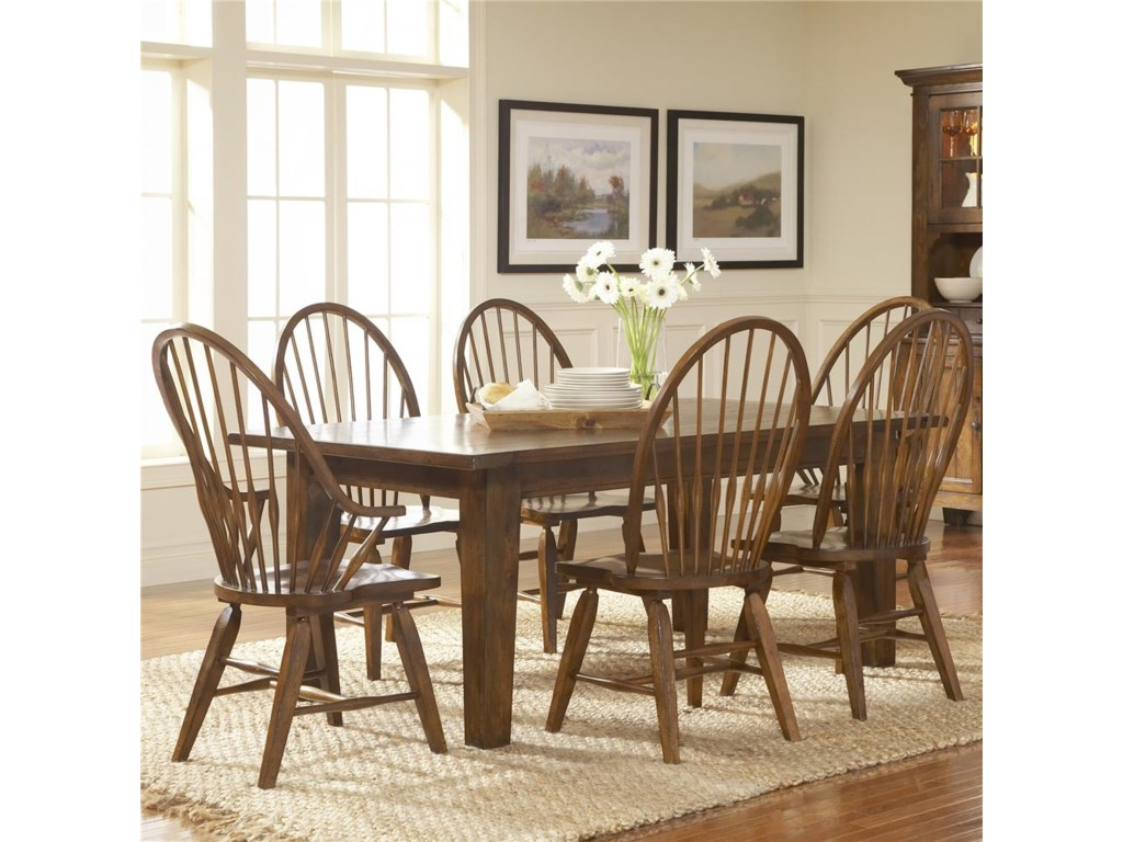 Shown With Windsor Arm Chairs and Leg Dining Table