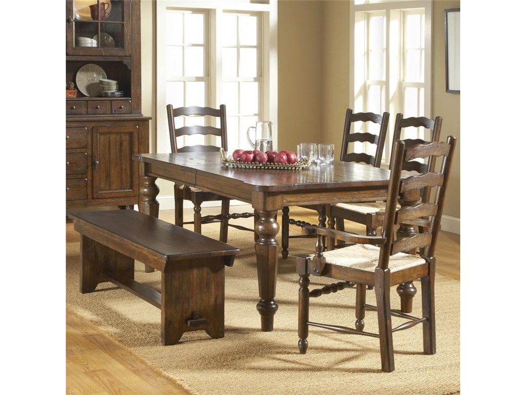 Shown With Extension Dining Table, Ladder Back Arm Chairs, and Ladder Back Side Chairs