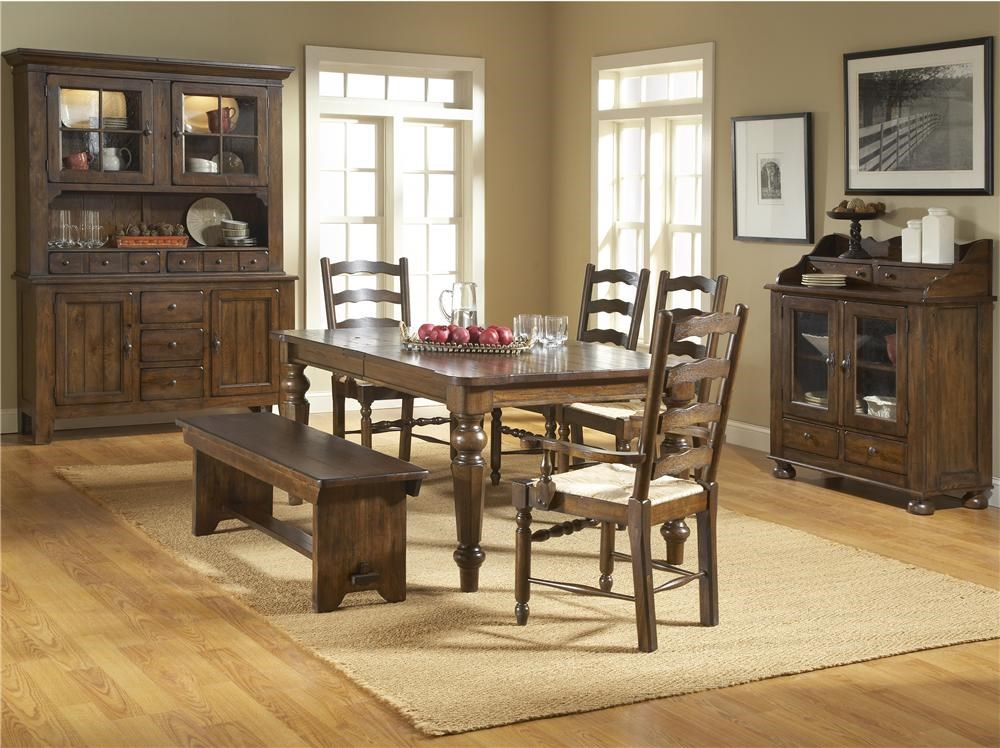 Shown With China Base and Deck, Ladder Back Arm Chairs, Ladder Back Side Chairs, Extension Dining Table, and Dining Chest
