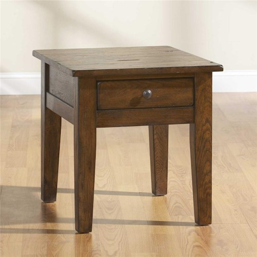 Broyhill Furniture Attic Rustic Tapered Leg End Table