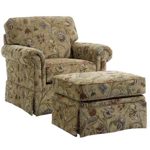 Broyhill Furniture Audrey Chair and Ottoman with Skirt