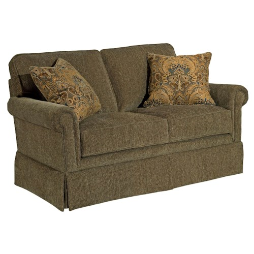Broyhill Furniture Audrey Upholstered Love Seat with Rolled Arms