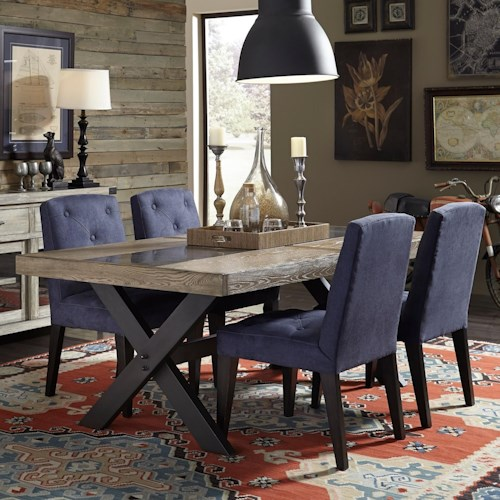 Broyhill Furniture Bedford Avenue 5 Piece Urban Picnic Table and Denim Upholstered Chair Set