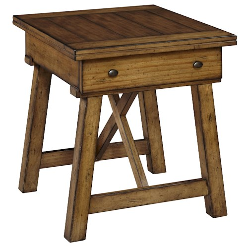 Broyhill Furniture Bethany Square Drawer End Table with Trestle Base