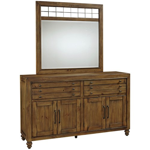 Broyhill Furniture Bethany Square Door Dresser and Landscape Mirror Set