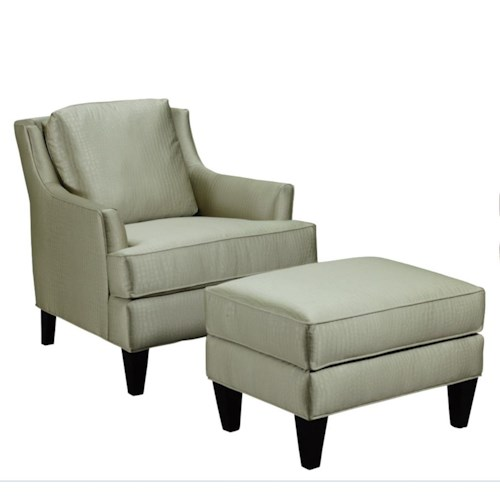 Broyhill Furniture Camdon Transitional Chair and Ottoman Set with Tapered Wood Legs