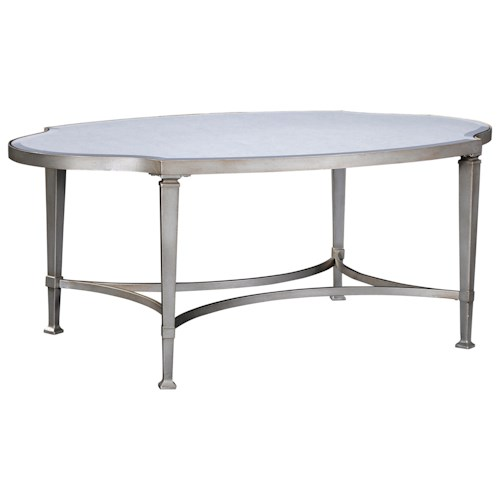 Broyhill Furniture Camille Cocktail Table with Antiqued Mirror Glass Table Top