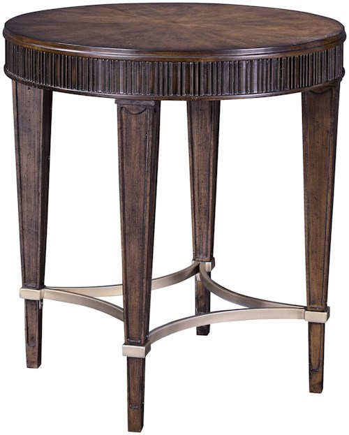 Broyhill Furniture Cashmera Round Lamp Table with Champagne Stretchers