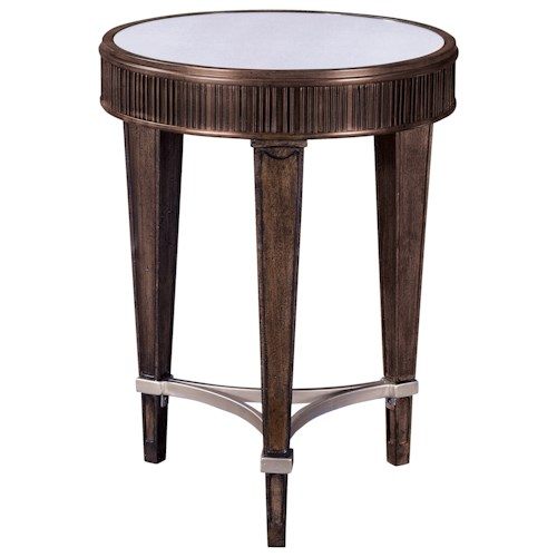 Broyhill Furniture Cashmera Round Chairside Table with Champagne Stretchers