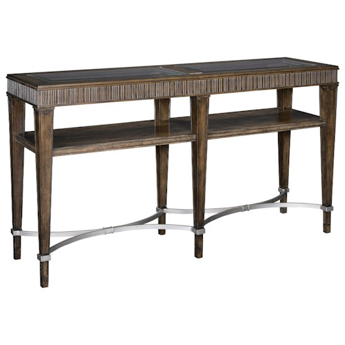 Broyhill Furniture Cashmera Console Table with Glass Table Top Inserts