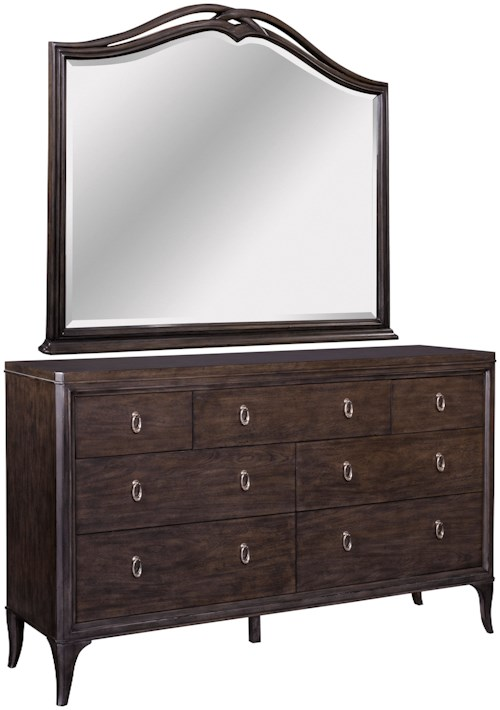 Broyhill Furniture Cashmera Traditional 7 Drawer Dresser and Decorative Mirror Combo