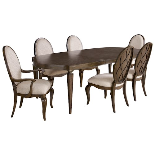 Broyhill Furniture Cashmera 7 Piece Leg Table and Upholstered Chair Set