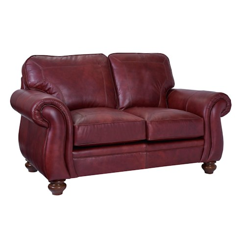 Broyhill Furniture Cassandra Traditional Loveseat with Large Rolled Arms and Bun Feet