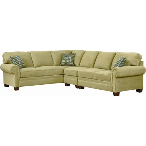 Broyhill Furniture Choices Upholstery Sectional Sofa with Panel Arm, Boxed Bordered Semi-Attached Back & Wedge Foot
