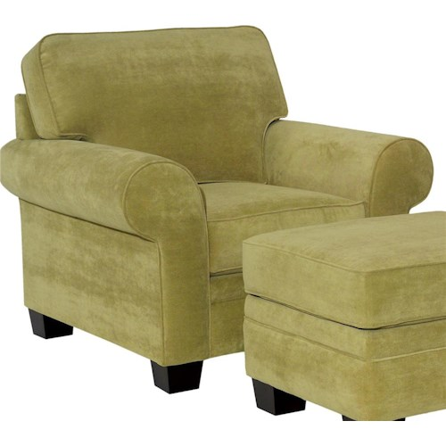 Broyhill Furniture Choices Upholstery Chair with Sock Arm, Boxed Border Semi-Attached Back & Wedge Foot Base
