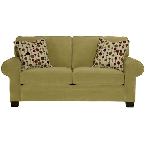 Broyhill Furniture Choices Upholstery 79 Inch Apartment Sofa with Sock Arm, Boxed Border Semi-Attached Back & Wedge Foot Base