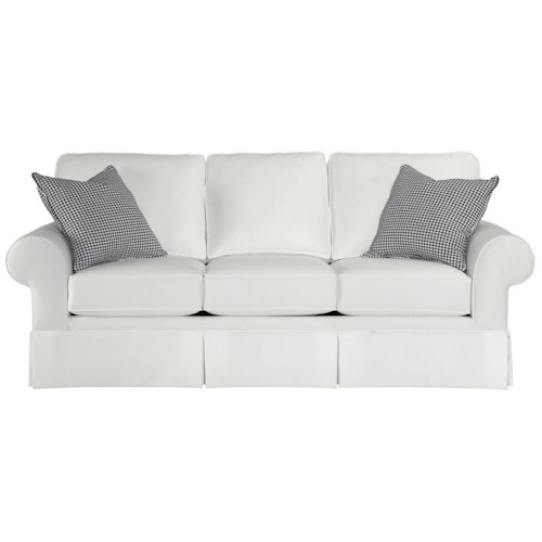 Broyhill Furniture Choices Upholstery 87 Inch Standard Sofa with Sock Arm, Boxed Border Semi-Attached Back & Skirted Base