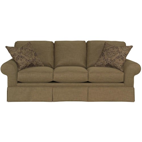 Broyhill Furniture Choices Upholstery 87 Inch Standard Sofa with Sock Arm, Round Knife Edged Semi-Attached Back & Skirted Base