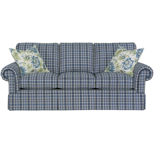 Broyhill Furniture Choices Upholstery 87 Inch Standard Sofa with Panel Arm, Boxed Border Semi-Attached Back & Skirted Base