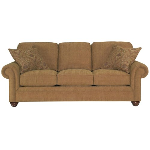 Broyhill Furniture Choices Upholstery 87 Inch Standard Sofa with Panel Arm, Round Knife Edge Semi-Attached Back & Turned Leg Base