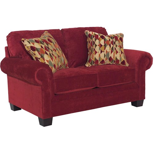 Broyhill Furniture Choices Upholstery Loveseat with Panel Arm, Boxed Border Semi-Attached Back & Wedge Foot Base