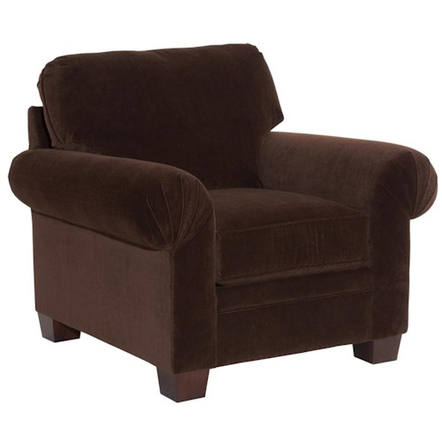 Broyhill Furniture Choices Upholstery Chair with (Pleated Arm, Round Knife Edge Semi-Attached Back & Wedge Foot Base