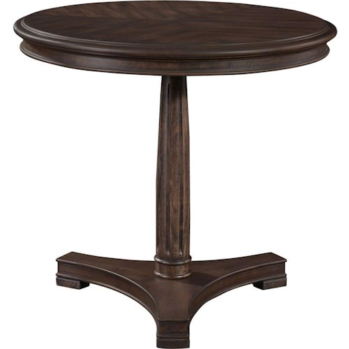 Broyhill Furniture Cranford Round Lamp Table with Pedestal