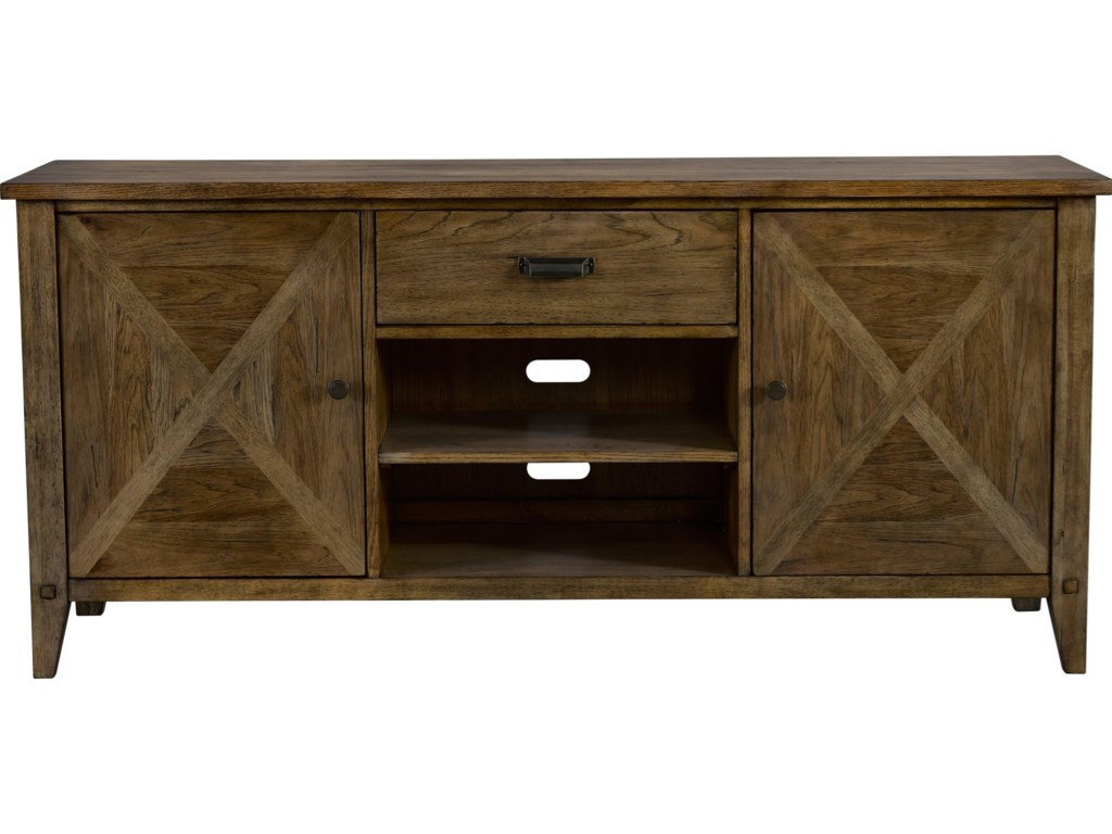 Broyhill Furniture Creedmoor Rustic Entertainment Console With Cord Access