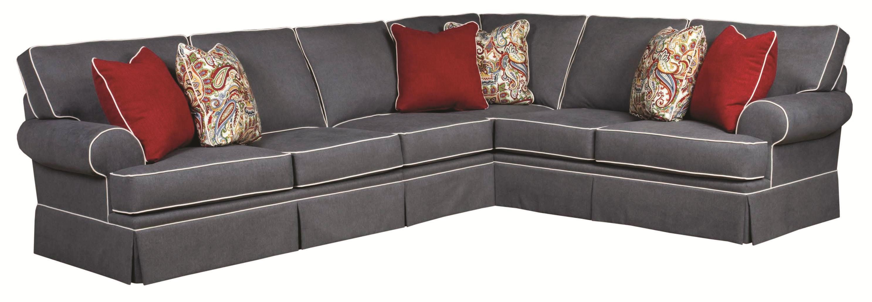 Beau Broyhill Furniture Emily Traditional 3 Piece Sectional Sofa With Skirted  Base