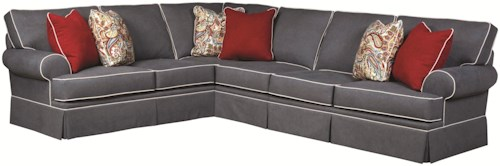 Broyhill Furniture Emily Transitional 3 Piece Sectional Sofa with Skirted Base