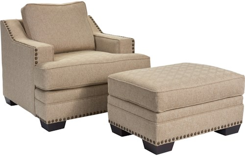 Broyhill Furniture Estes Park Contemporary Chair and Ottoman Set with Nail Head Trim