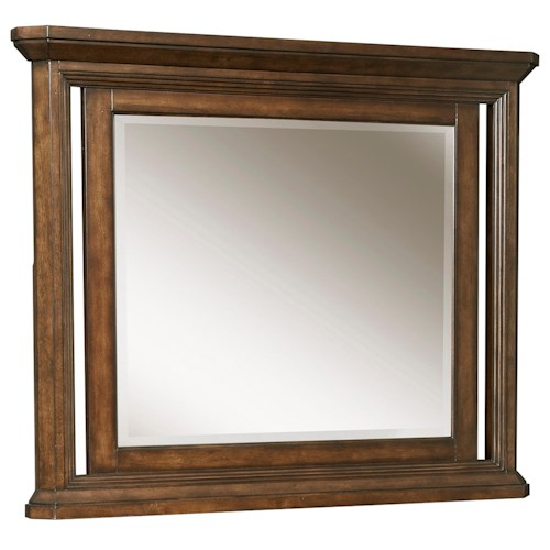 Broyhill Furniture Estes Park Dresser Mirror with Beveled Glass and Crown Molding