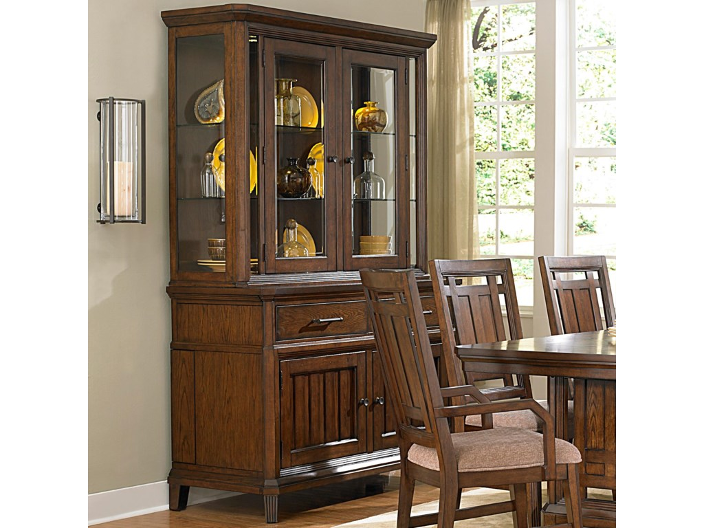 Broyhill Furniture Estes Park China Cabinet With Built In Leaf Storage And LED Lighting