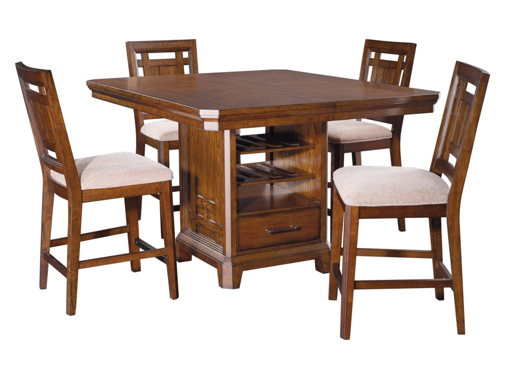 Broyhill Furniture Estes Park 5 Piece Storage Counter Height Table And Upholstered Stool Set