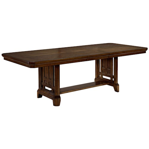Broyhill Furniture Estes Park Trestle Table with 18 Inch Leaf